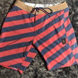 VOLCOM Strip Stoney red blue board shorts swim 33